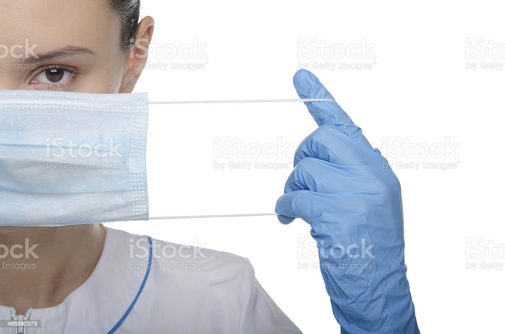 Doctor raised his finger up stock photo
