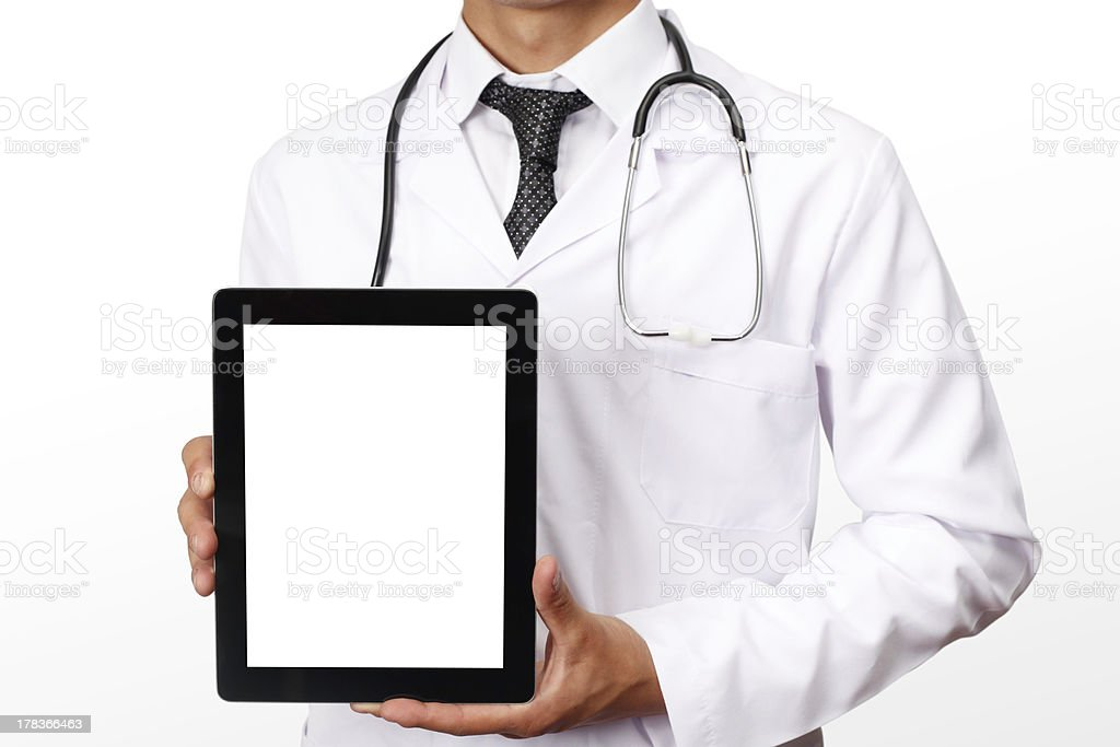 Doctor showing digital tablet royalty-free stock photo
