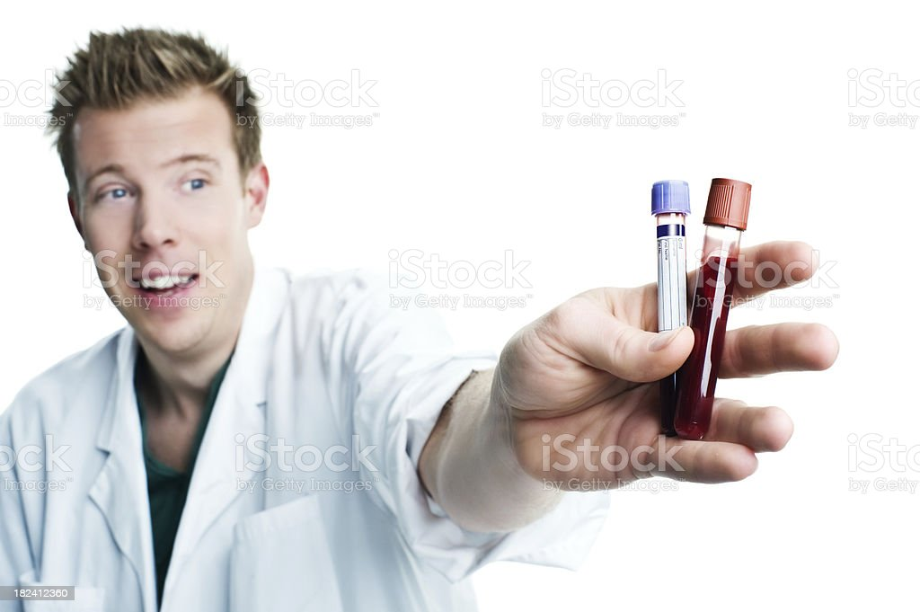 Doctor showing tubes with blood royalty-free stock photo