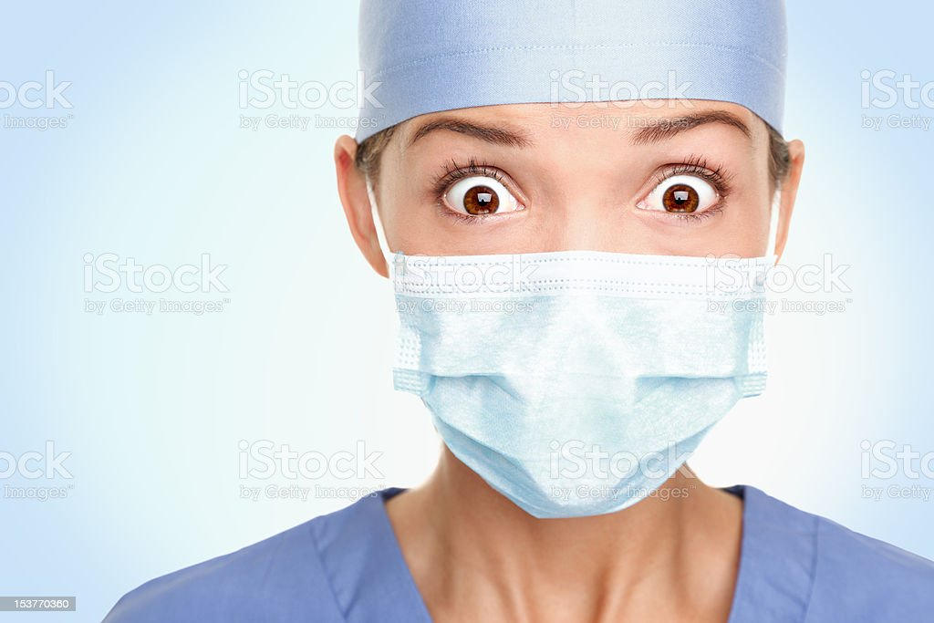 Doctor surgeon woman shocked stock photo