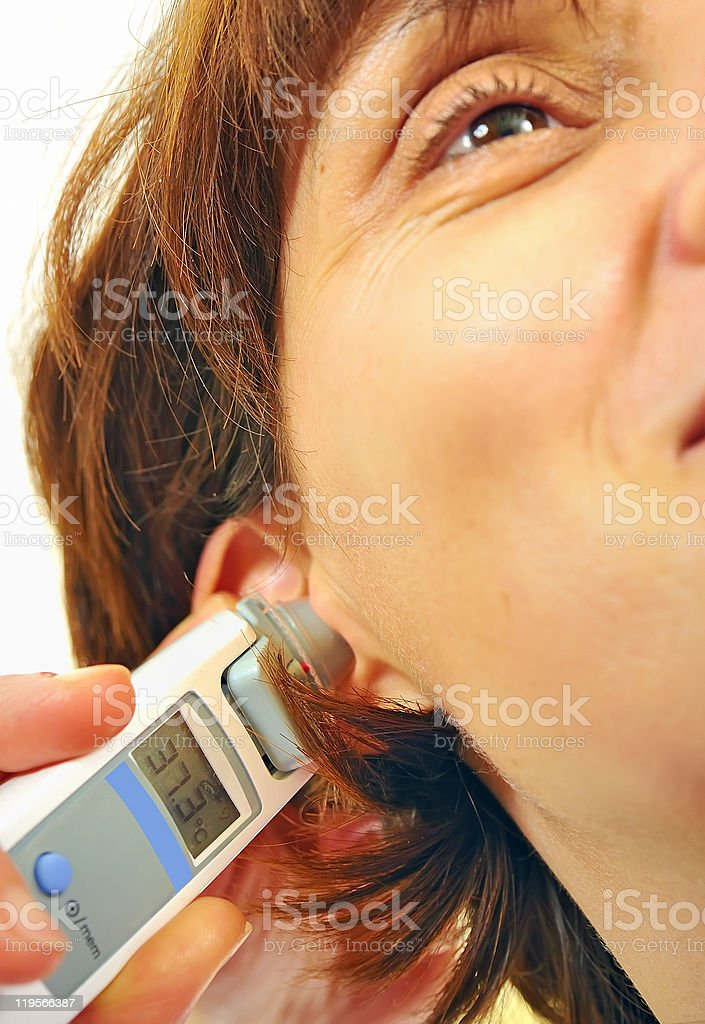 doctor  taken temperature stock photo