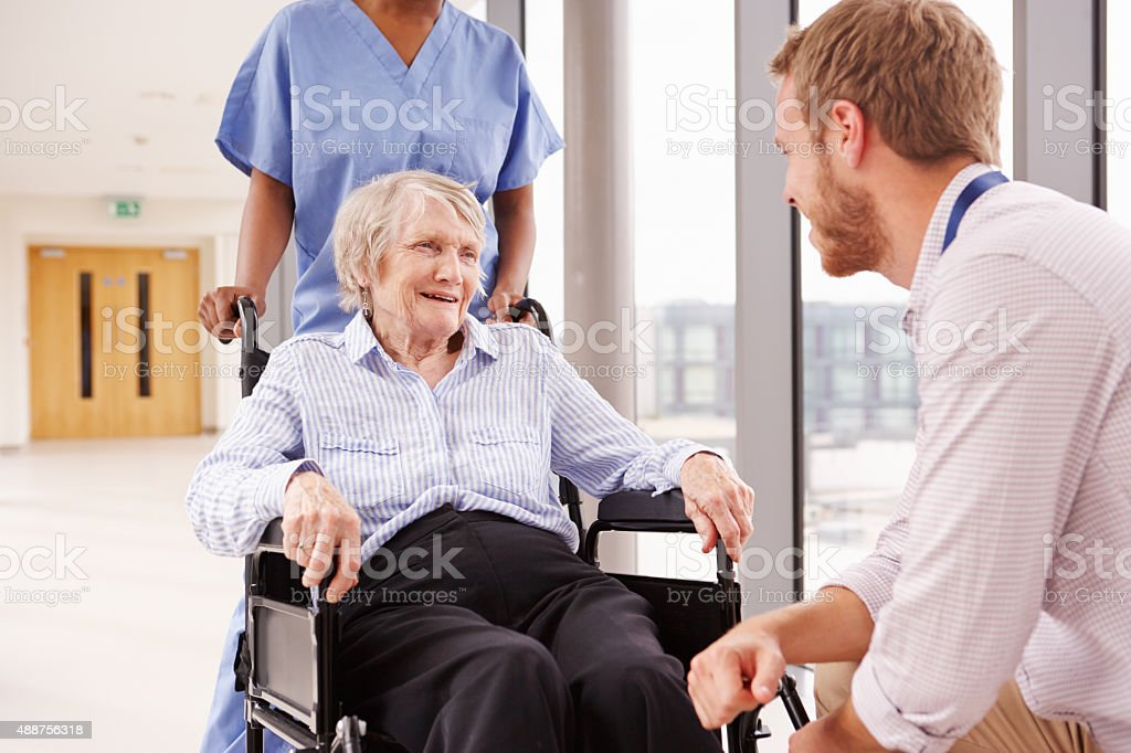 Doctor Talking To Senior Female Patient In Wheelchair stock photo