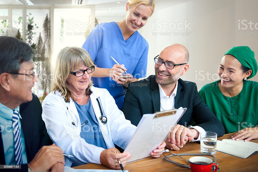 Doctor Teamwork Diagnosis Corporate Meeting Concept stock photo