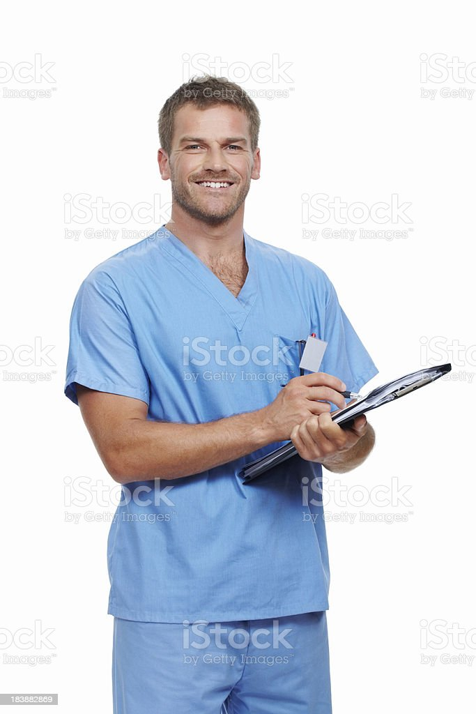 Doctor updating medical reports royalty-free stock photo