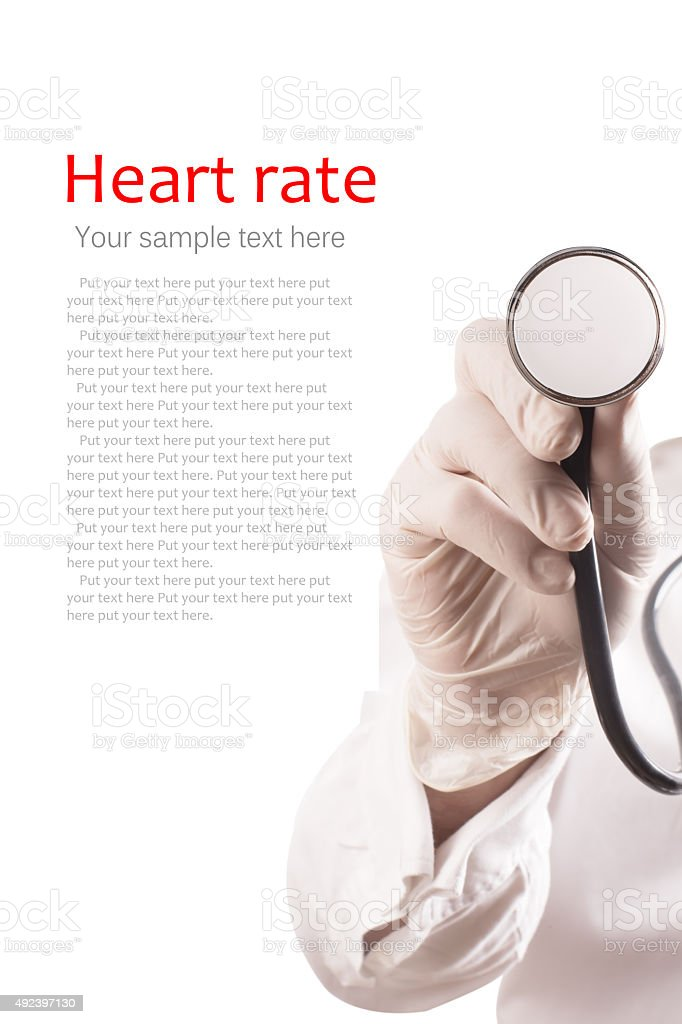 Doctor uses stethoscope for measurement stock photo