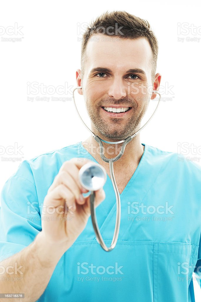 Doctor using a stethoscope royalty-free stock photo