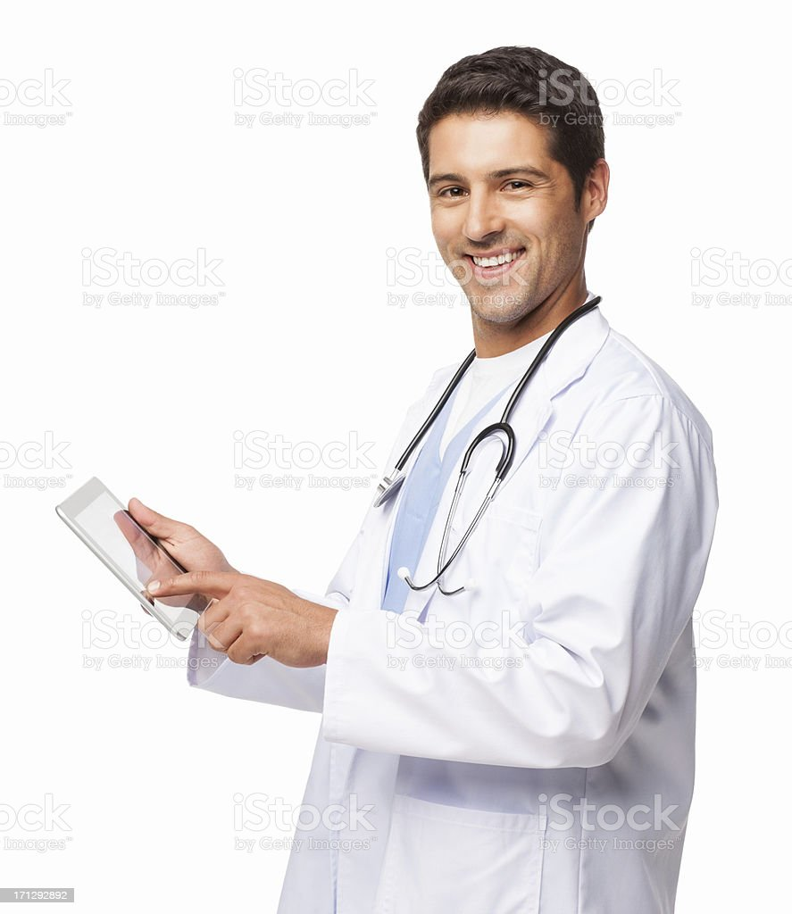 Doctor Using Digital Tablet - Isolated royalty-free stock photo