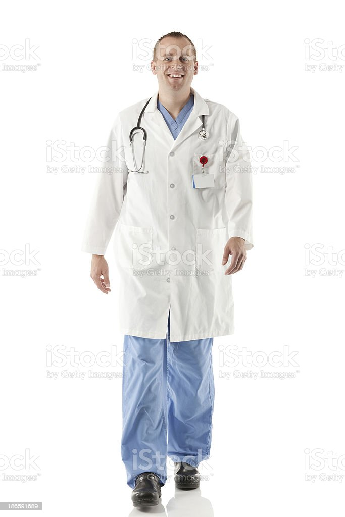 Doctor walking stock photo