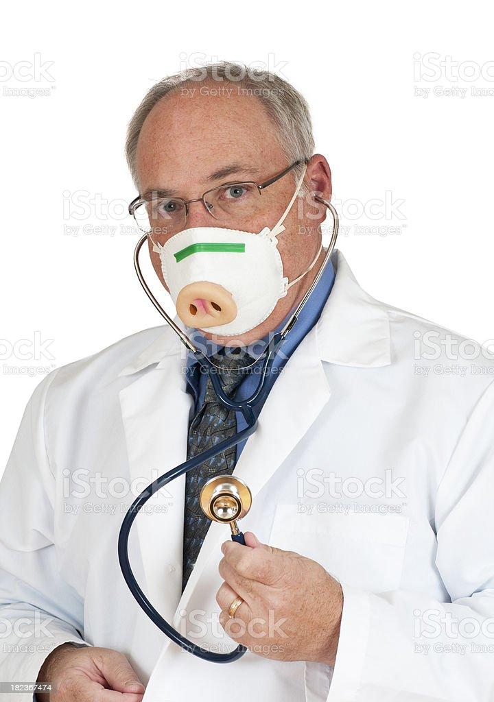 Doctor Wearing Swine Flu Mask stock photo