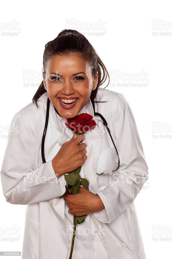doctor with a rose stock photo