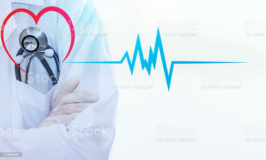 Doctor with a stethoscope for heart. stock photo