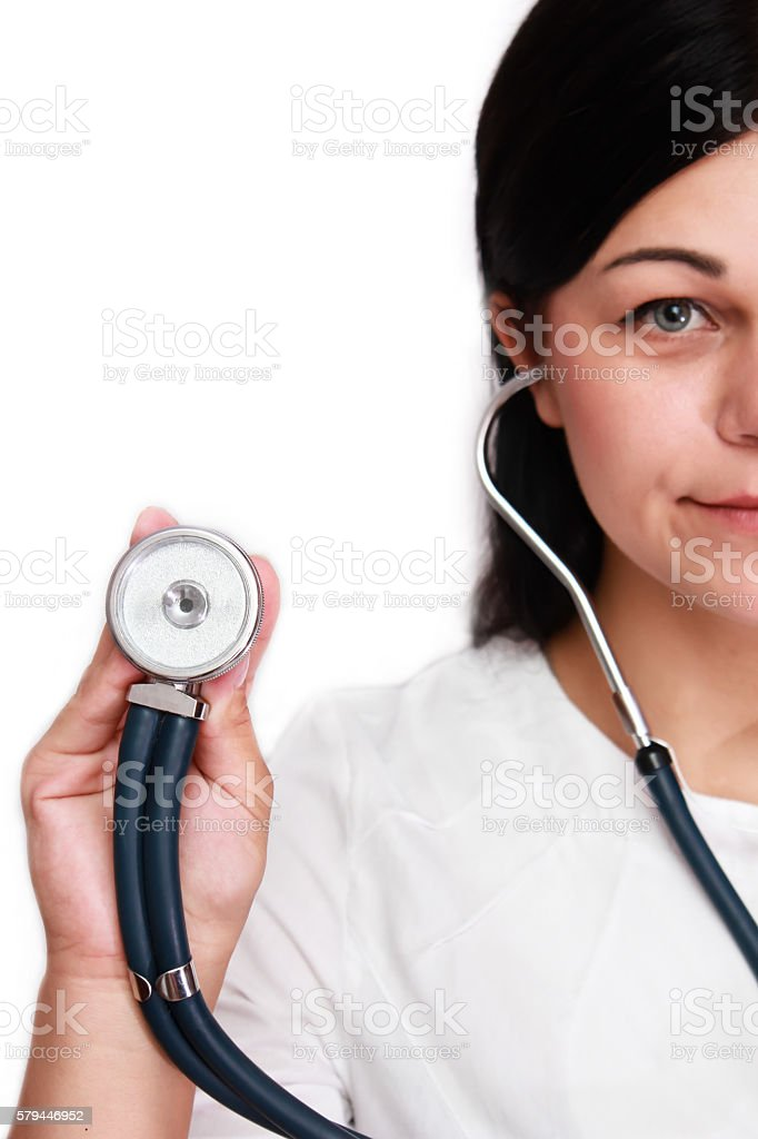 Doctor with a stethoscope in the hands stock photo