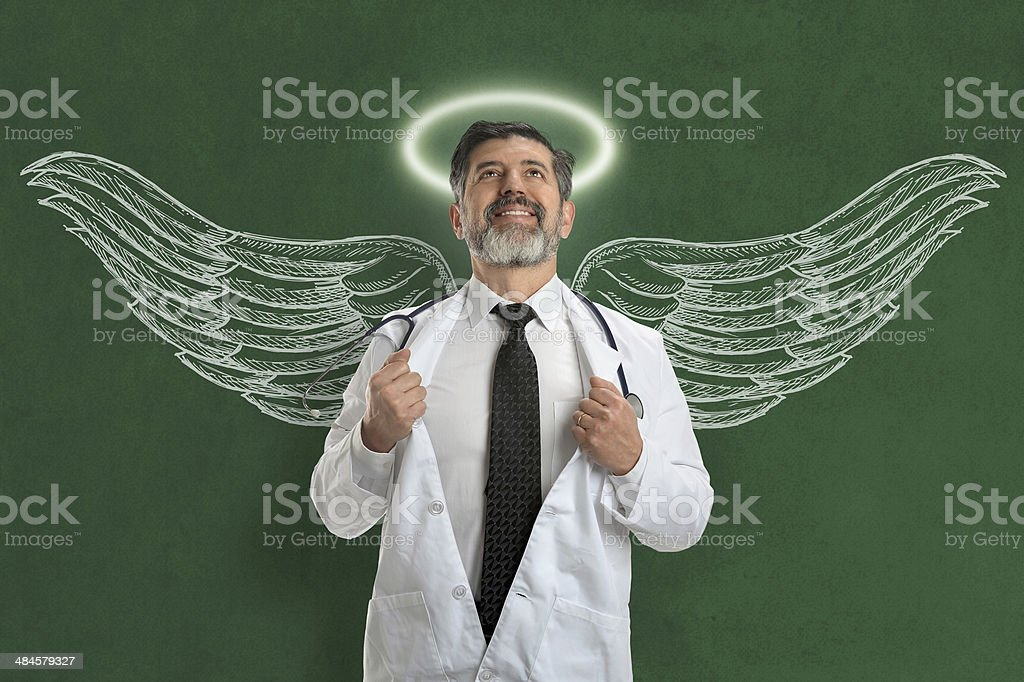 Doctor With Angel Wings and Halo stock photo