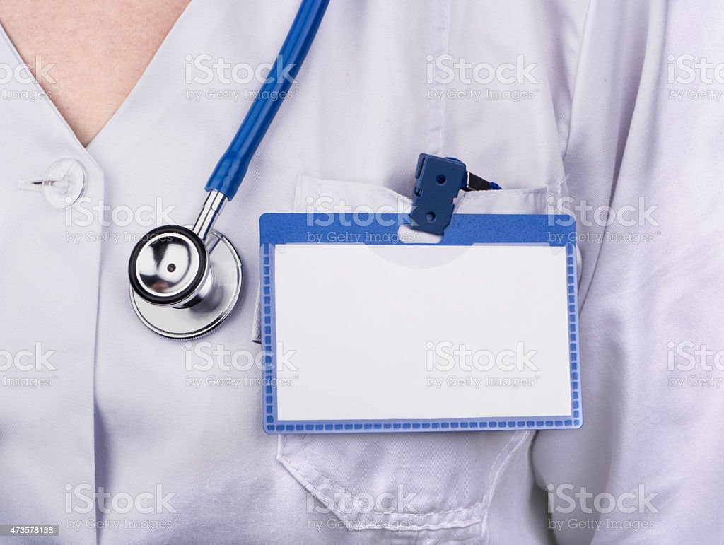 Doctor with badge stock photo