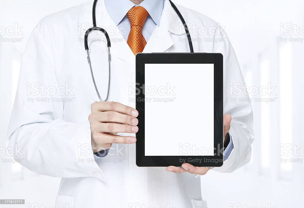 Doctor with blank digital tablet royalty-free stock photo