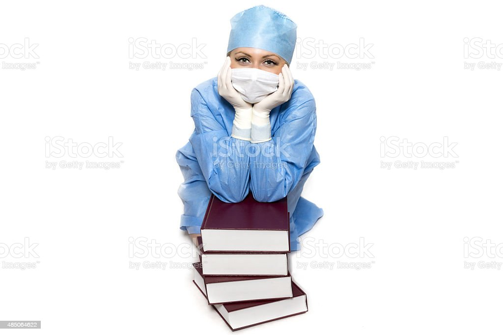 Doctor with books stock photo