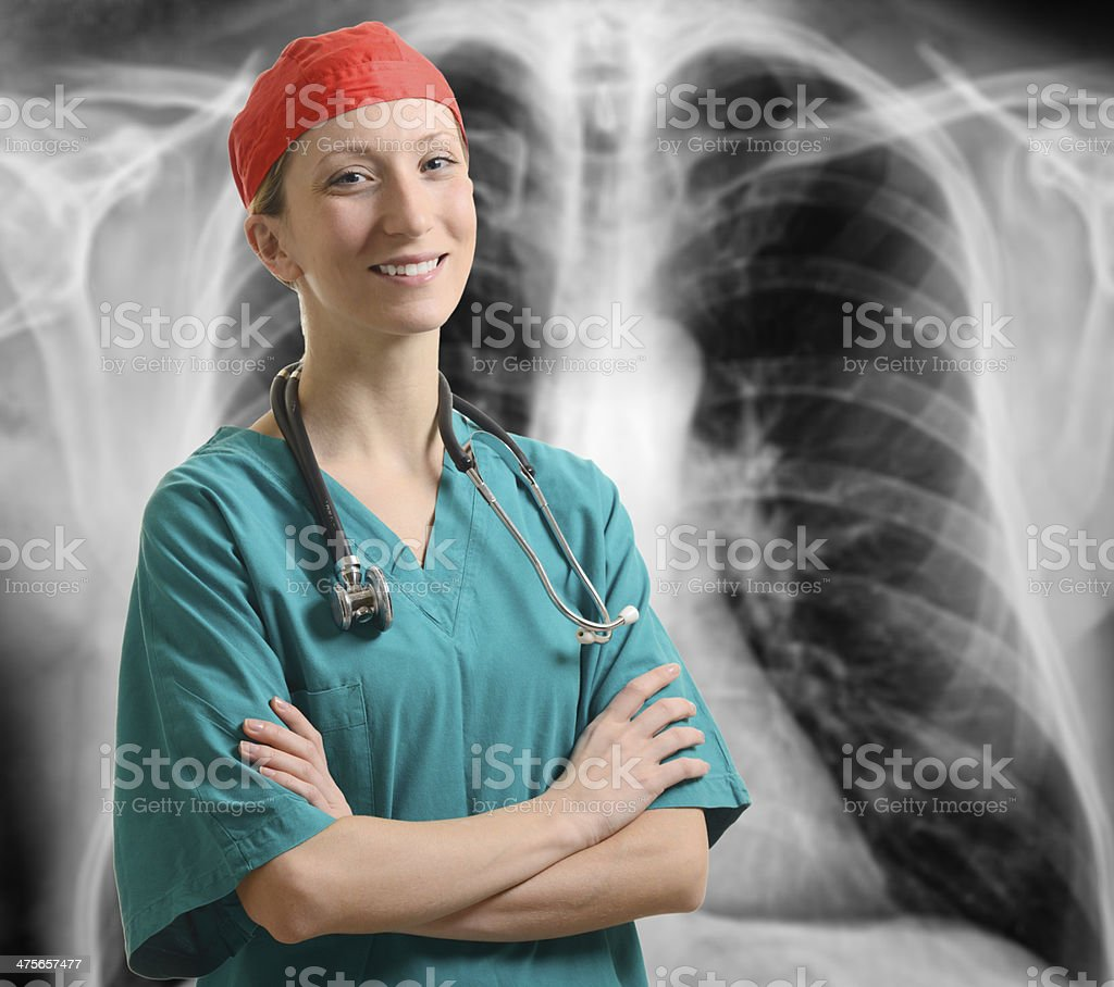 Doctor with chest X-ray royalty-free stock photo
