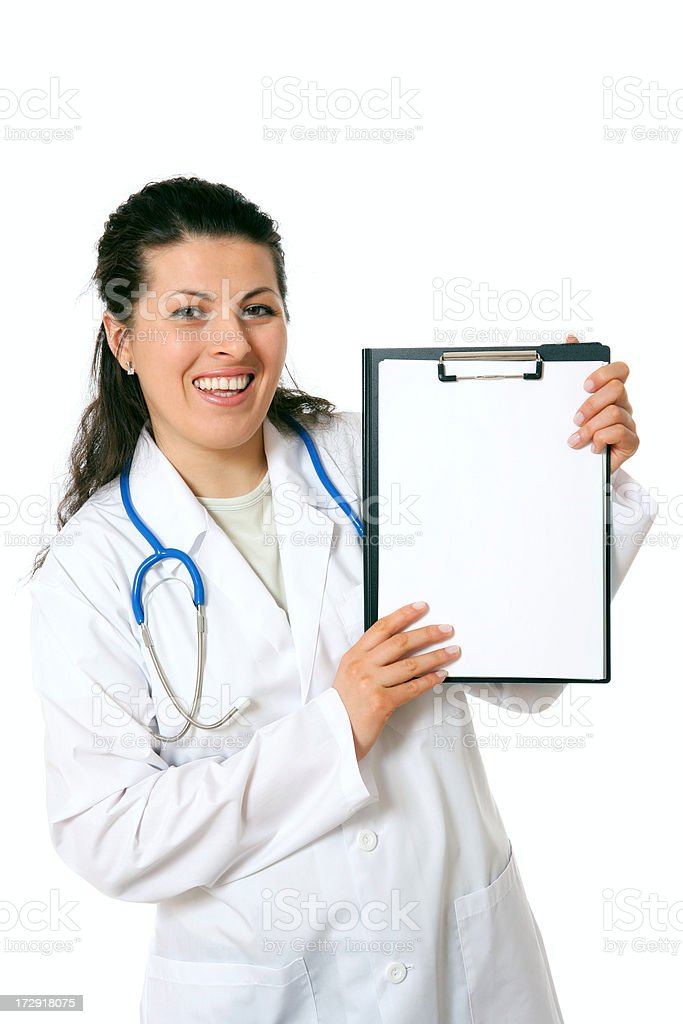 Doctor with clipboard (on white) royalty-free stock photo
