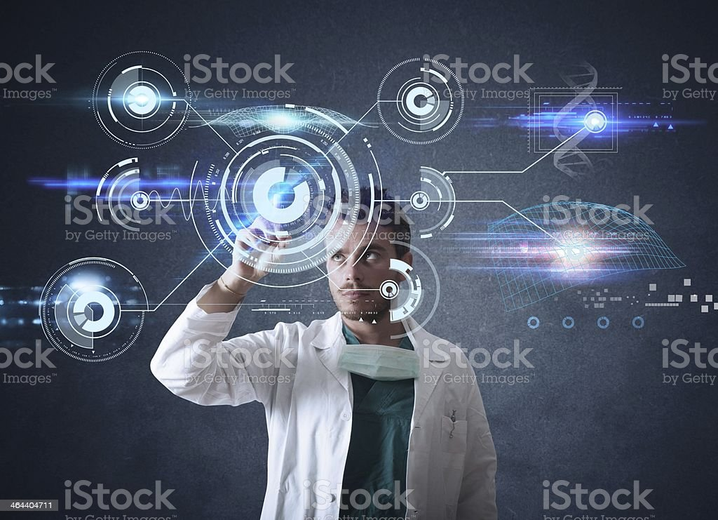 Doctor with futuristic touchscreen interface royalty-free stock photo