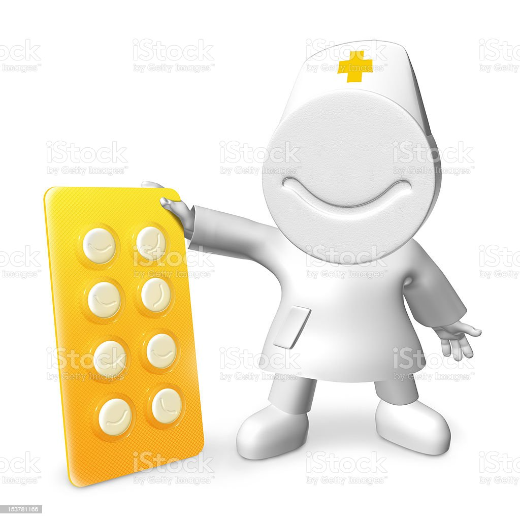 Doctor with happy pills royalty-free stock photo