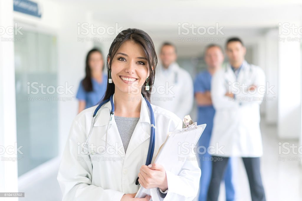 Doctor with medical staff at the ER stock photo