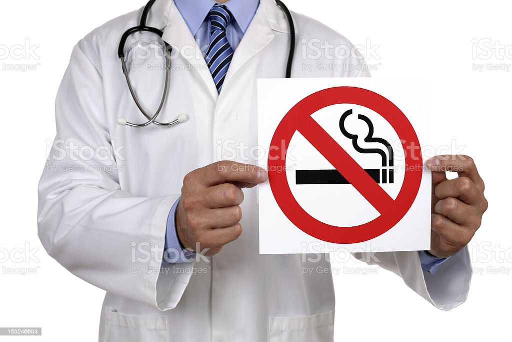 Doctor with no smoking sign stock photo