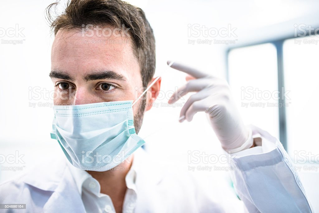 doctor with protective mask portrait stock photo