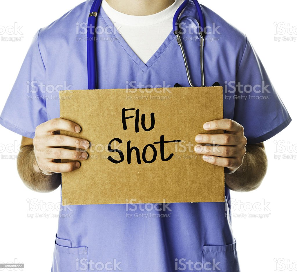Doctor with Sign: Flu Shot stock photo
