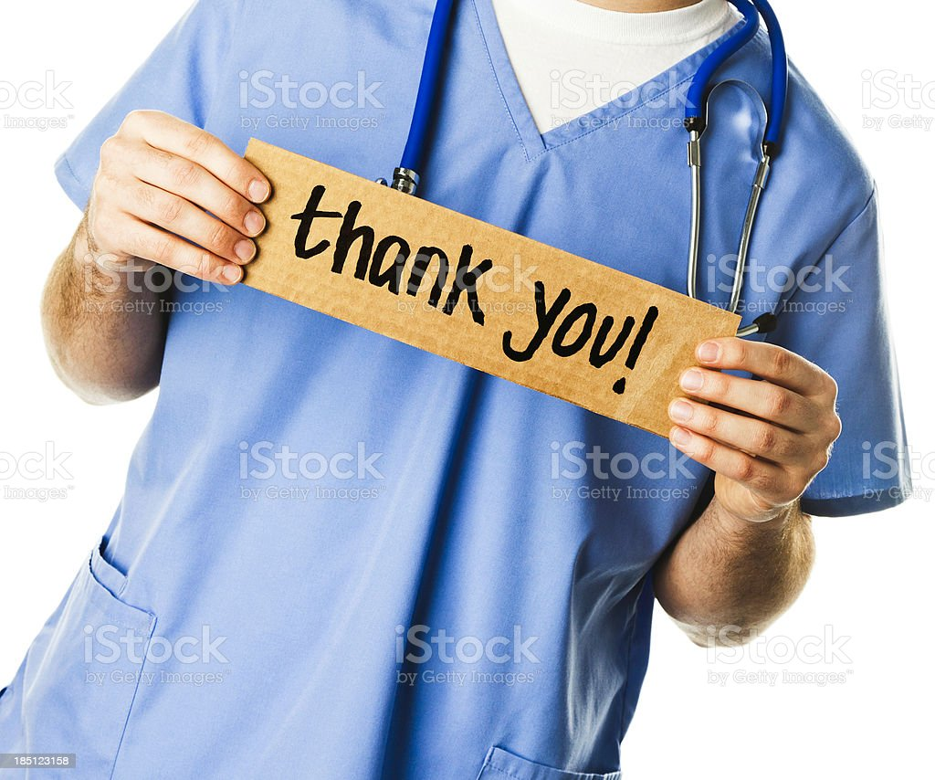 Doctor with Sign: Thank You! stock photo