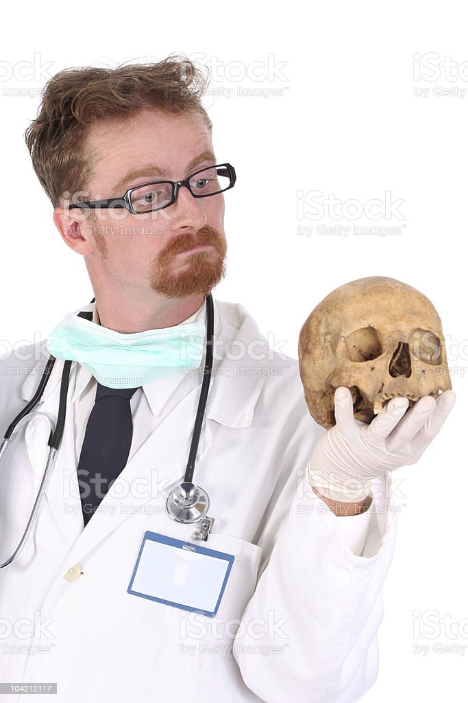 doctor with skull royalty-free stock photo
