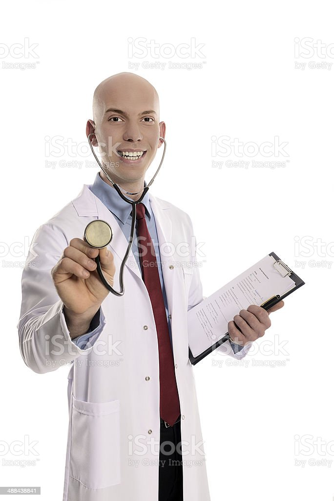Doctor with stethoscope and medical document stock photo