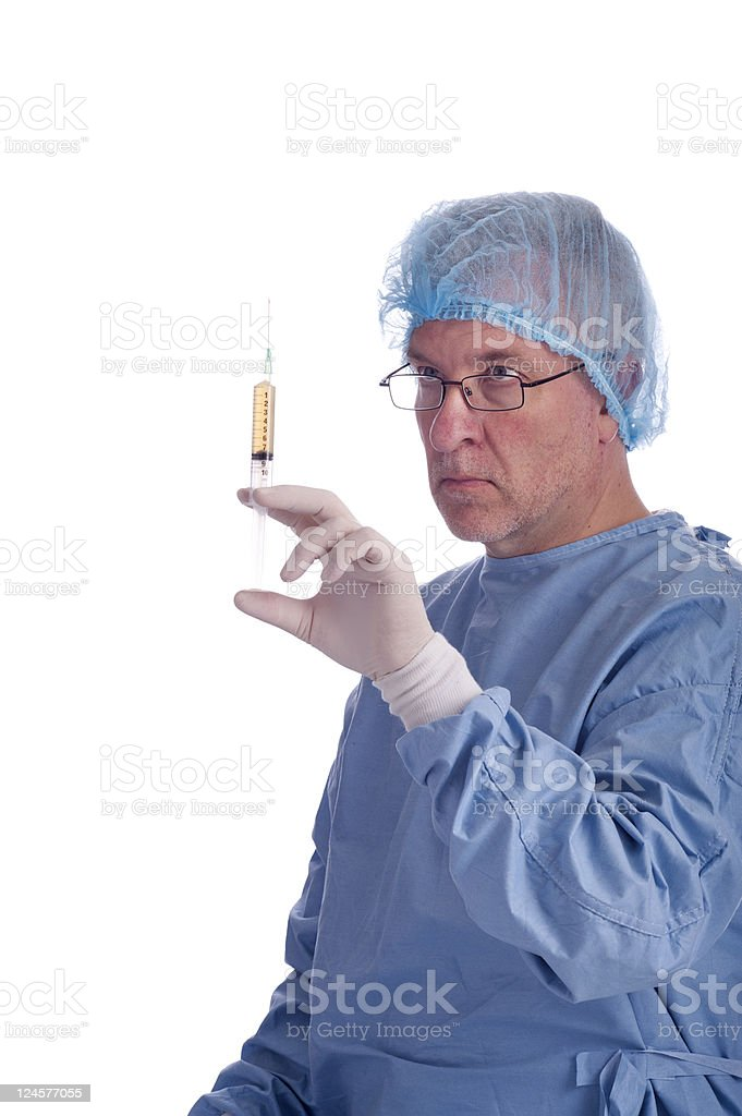 doctor with syringe and protection clothes royalty-free stock photo
