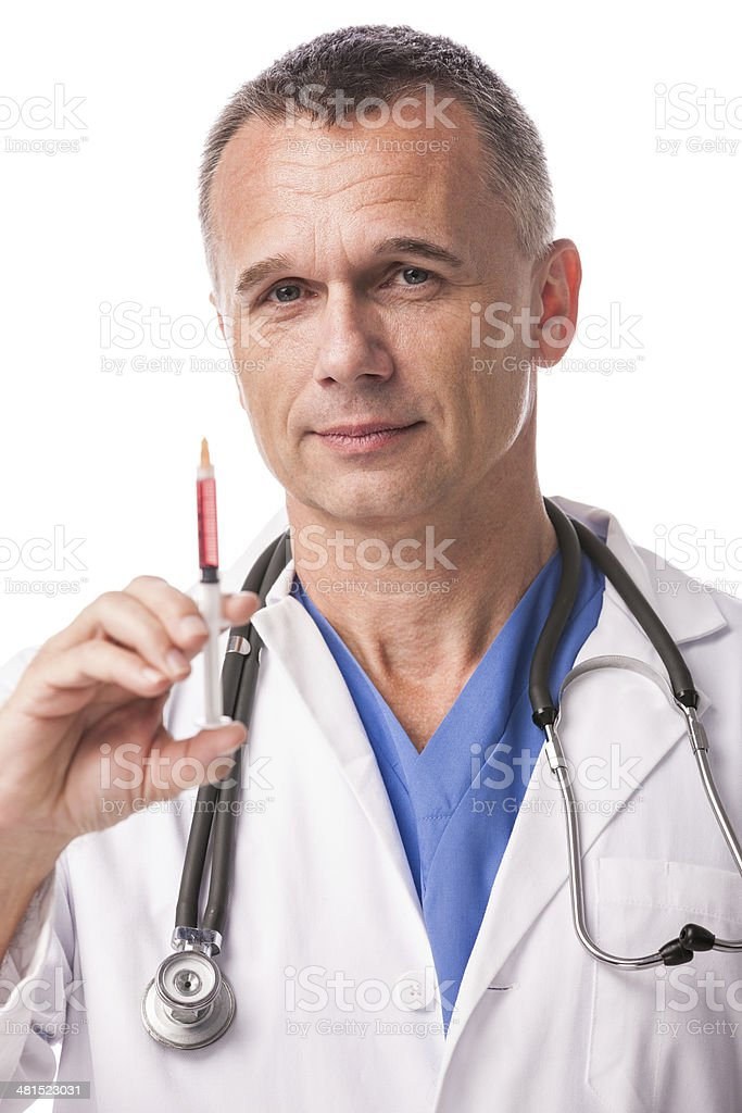Doctor With Syringe for Injections royalty-free stock photo