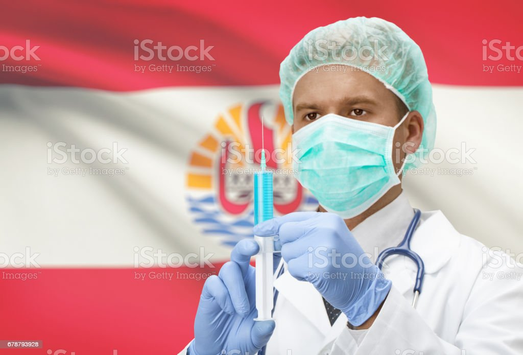 Doctor with syringe in hands and flag on background series - French Polynesia stock photo