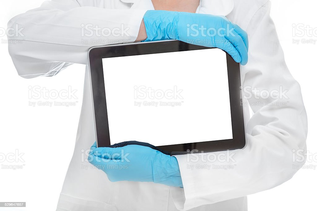 Doctor with tablet on white background stock photo