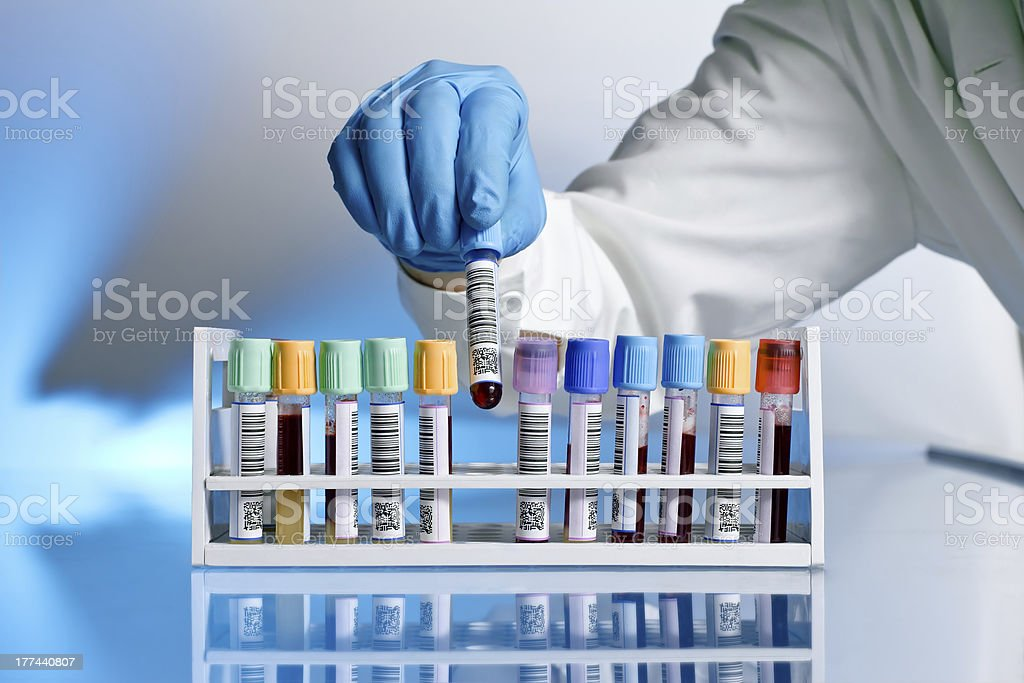 Doctor with test tube stock photo
