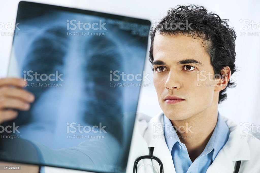 Doctor with x-ray image stock photo