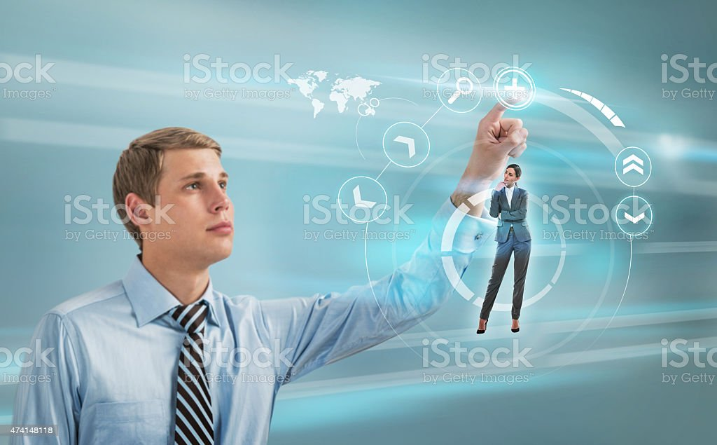 Doctor working futuristic touch screen interface stock photo