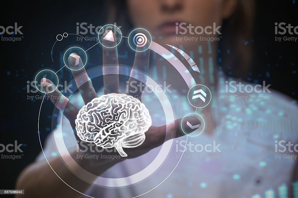 Doctor working with futuristic touch screen interface stock photo