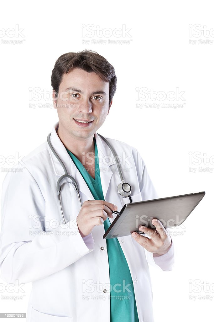 doctor write touchscreen tablet royalty-free stock photo