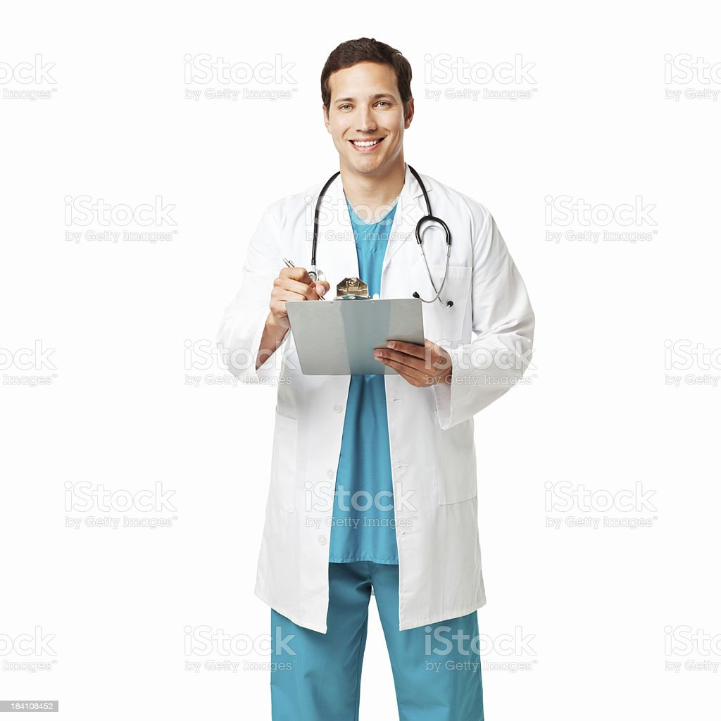 Doctor Writing on a Clipboard - Isolated royalty-free stock photo