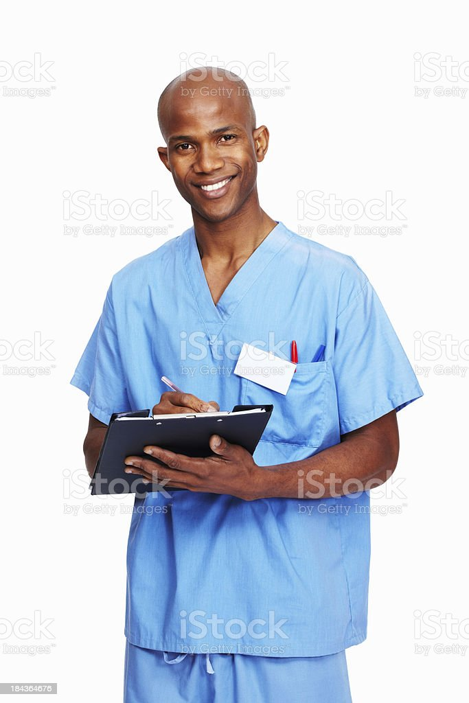 Doctor writing on clipboard royalty-free stock photo