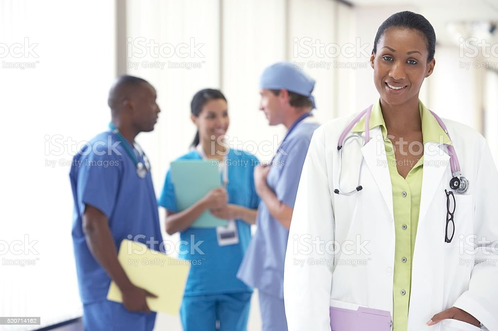 Doctors and nurses in a hospital stock photo