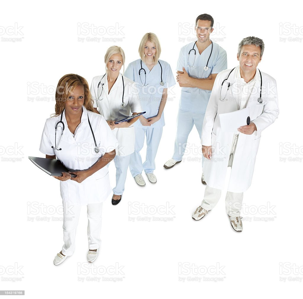 Doctors and surgeons looking up on white stock photo