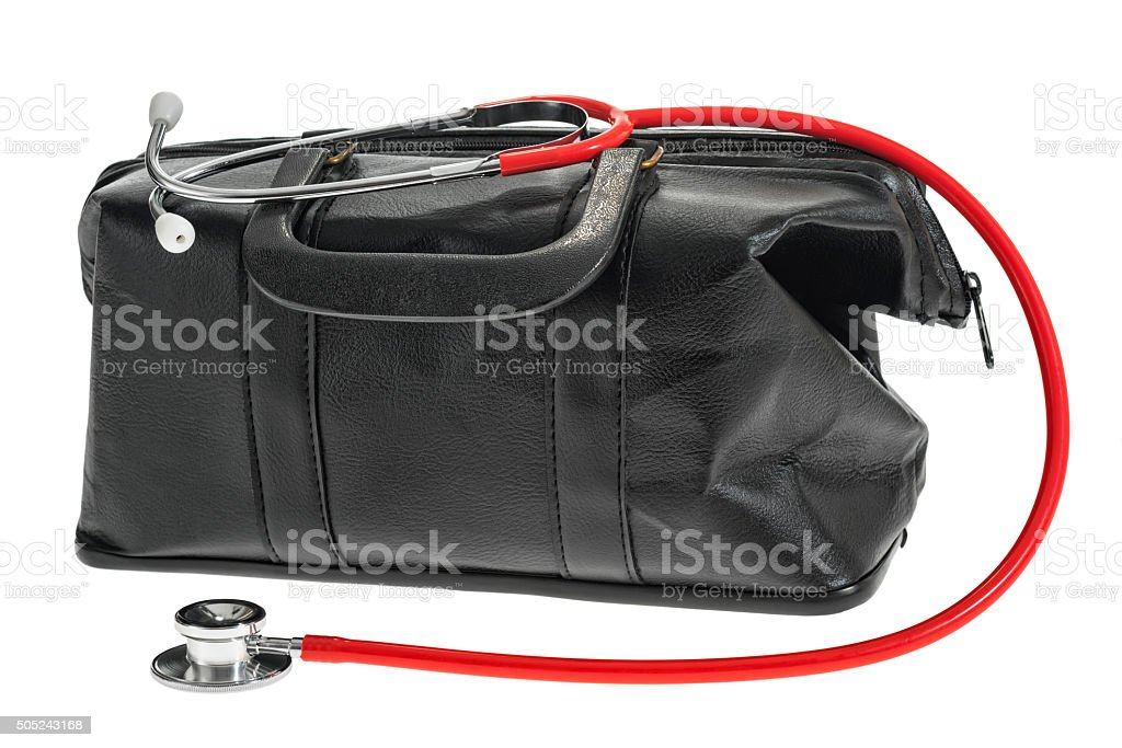 Doctor's bag  and stethoscope on a white background stock photo