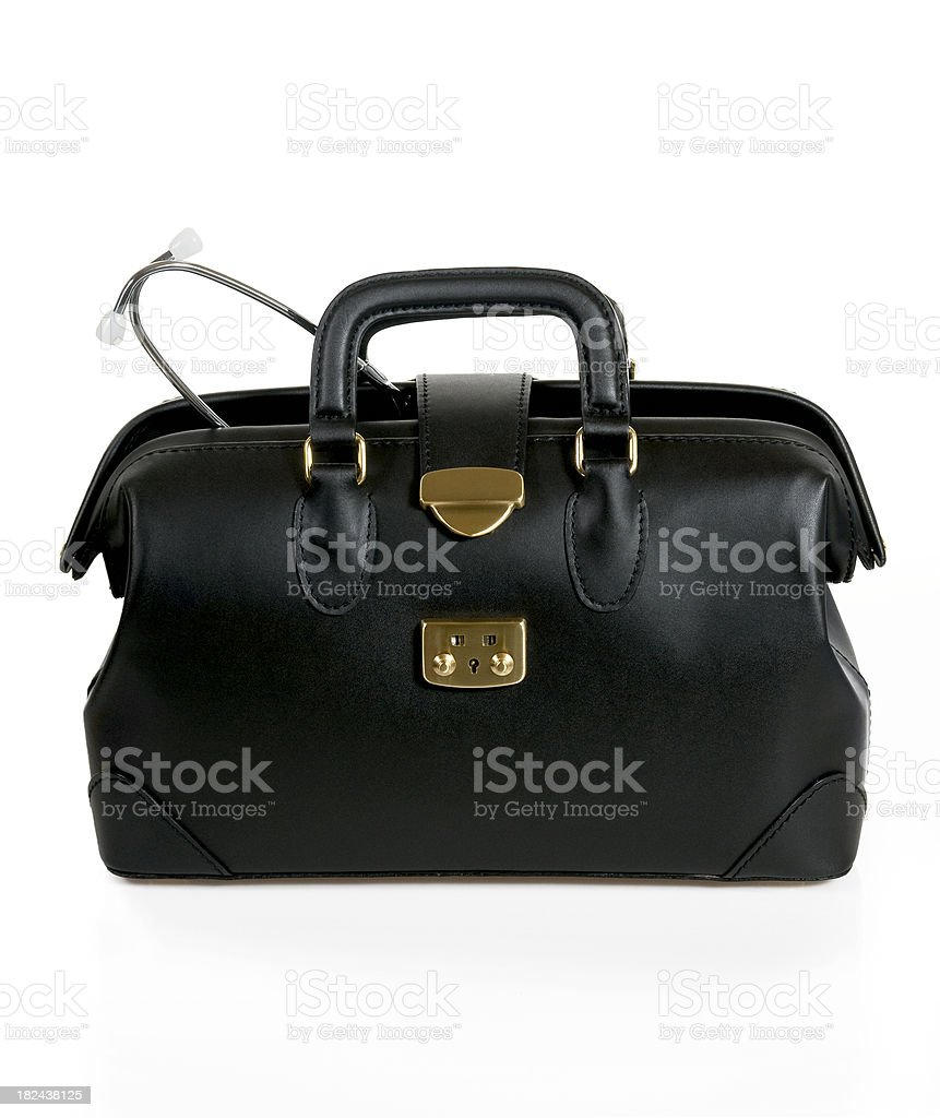 Doctor's bag and Stethoscope stock photo