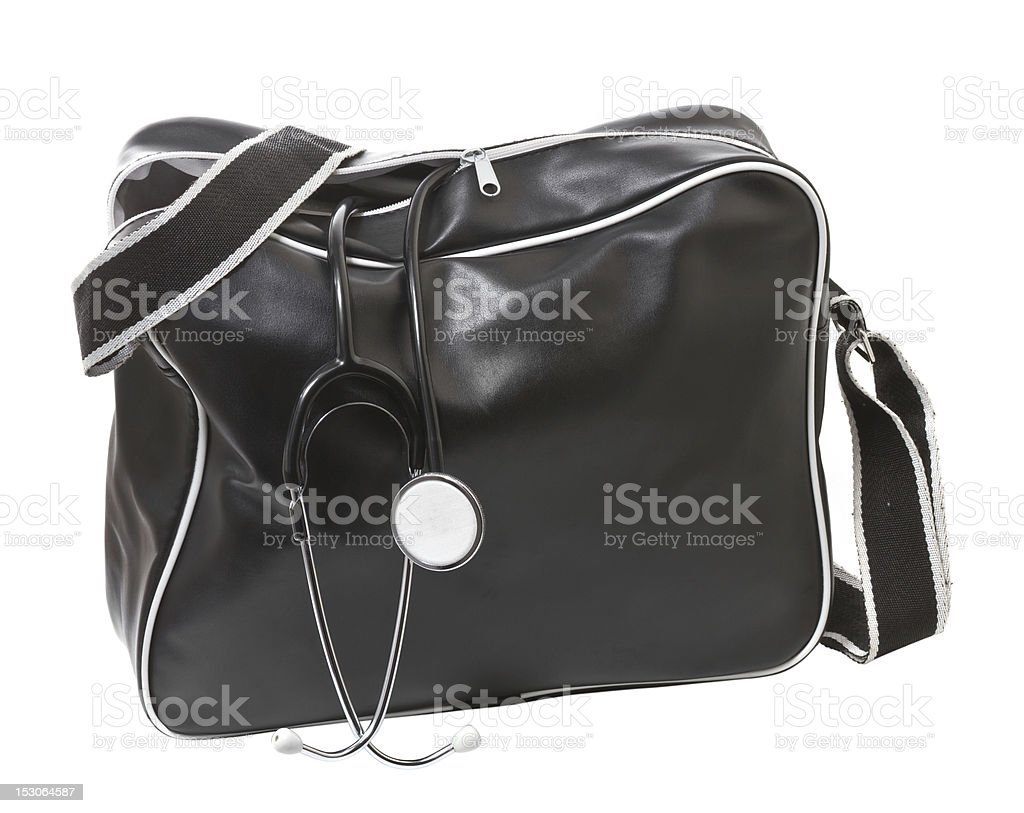 Doctor's bag with stethoscope. stock photo