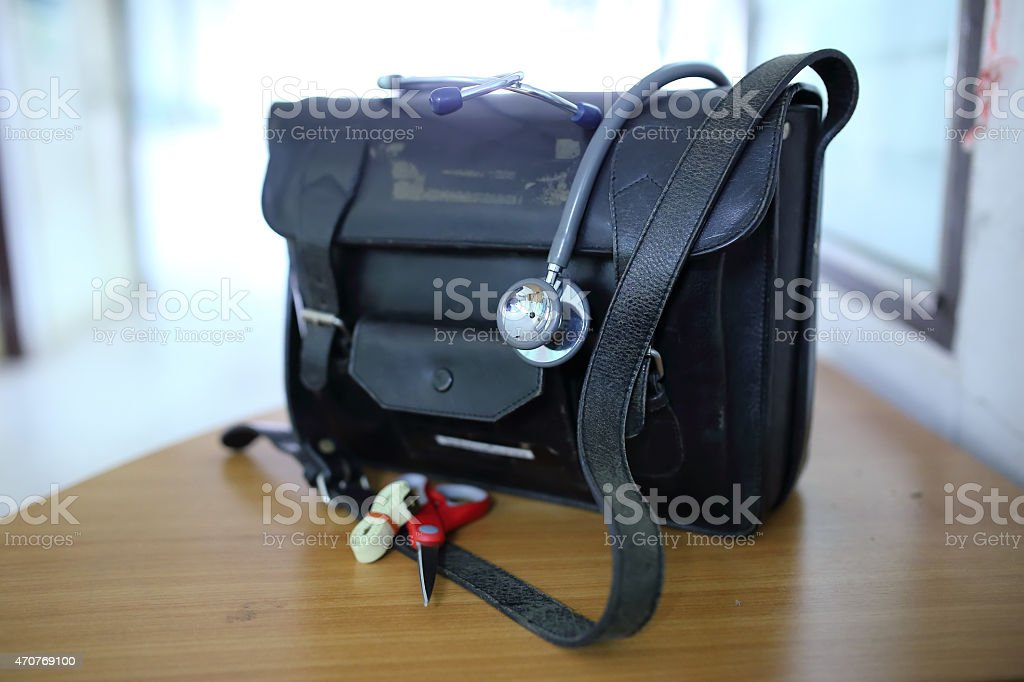 Doctor's bag with stethoscope stock photo
