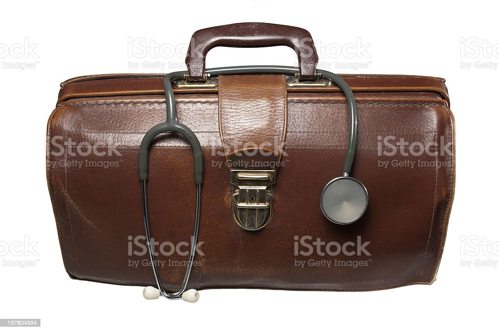 A doctors brown bag with a stethoscope in top stock photo