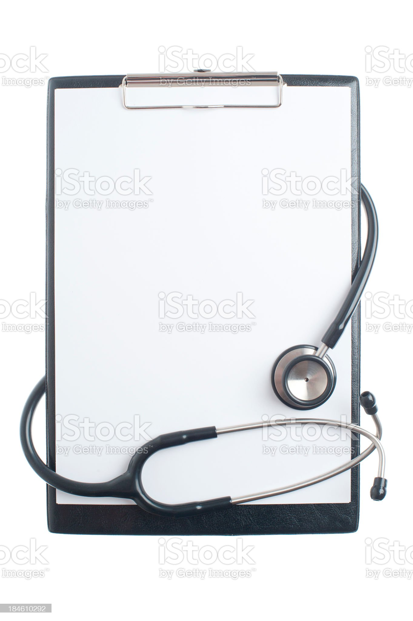 Doctors clipboard and stethoscope on white background royalty-free stock photo